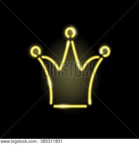 Neon Glowing Icon Of Gold Crown For Queen Or Princess Isolated On Black Background. Girly Or Royal C