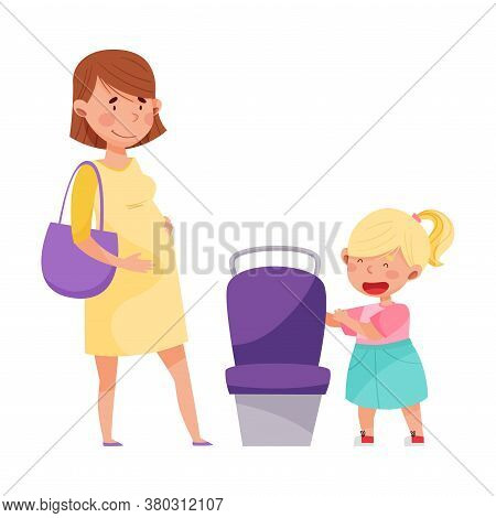 Polite Girl Yielding A Seat To Pregnant Woman In Public Transport Vector Illustration