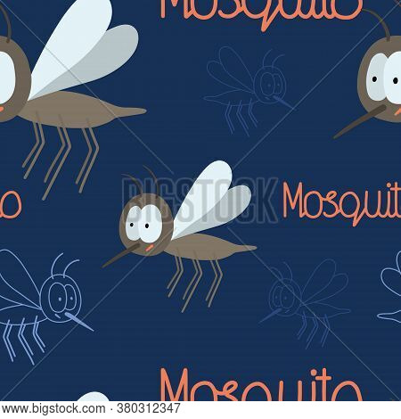 Hand Drawn Seamless Pattern For World Mosquito Day In August 20. Vector Mosquito And Hand Written Te