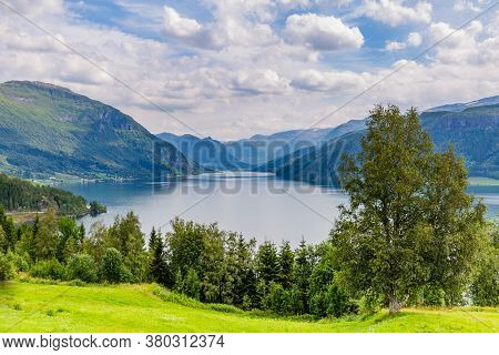 Mountain Panorama With Lake Haukedasvatnet Near Forde In Sogn Og Fjorden County In Norway