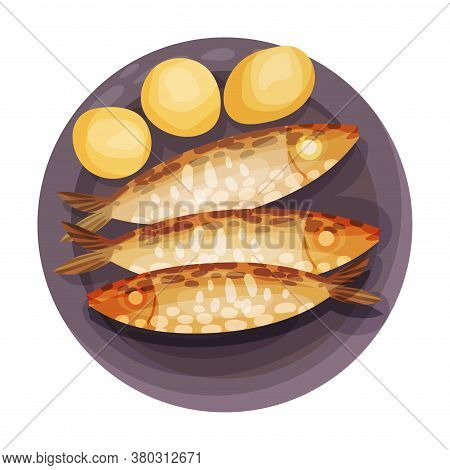 Grilled Sardines With Potatoes As Portuguese Dish View From Above Vector Illustration