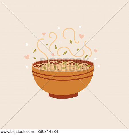 Bowl Of Asian Noodles On A Light Isolated Background. Spaghetti With Herbs Vector Illustration. Trad