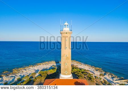 Amazing Croatia, Spectacular Adriatic Seascape, Lighthouse Tower Of Veli Rat On The Island Of Dugi O