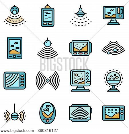 Echo Sounder Icons Set. Outline Set Of Echo Sounder Vector Icons Thin Line Color Flat On White