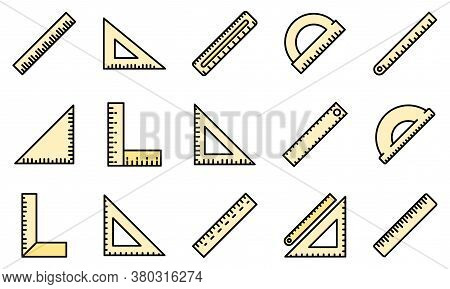 Ruler Icons Set. Outline Set Of Ruler Vector Icons Thin Line Color Flat On White