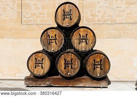 Haro, Spain - August 6, 2020: Old Oak Barrels In Lopez Heredia Winery