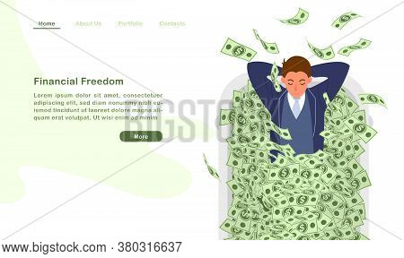 Website Landing Page Template Cartoon Character A Financila Freedom Man Lying In Bathtub With Countl