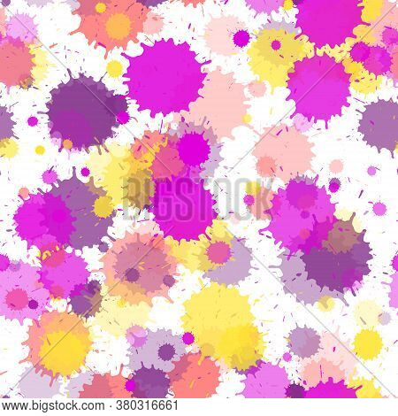 Watercolor Paint Transparent Stains Vector Seamless Grunge Background. Hand Drawn Ink Splatter, Spra