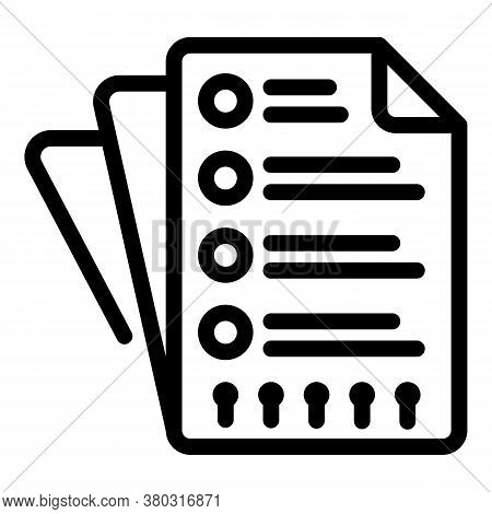 Paper Checklist Icon. Outline Paper Checklist Vector Icon For Web Design Isolated On White Backgroun
