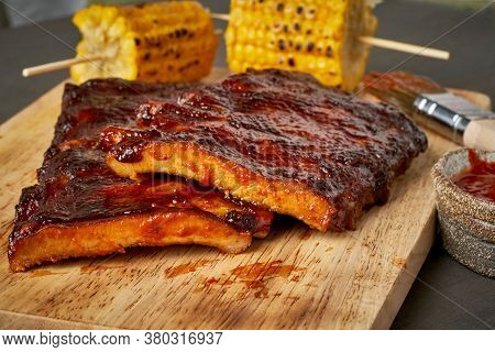 Barbecue Pork Ribs. Slow Cooking Recipe. Whole Pickled Roasted Pork Meat, Side View