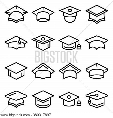 Graduation Hat Icons Set. Outline Set Of Graduation Hat Vector Icons For Web Design Isolated On Whit