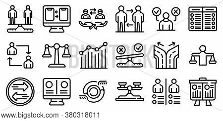 Comparison Icons Set. Outline Set Of Comparison Vector Icons For Web Design Isolated On White Backgr