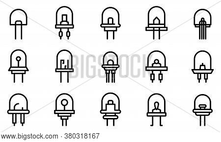 Diode Icons Set. Outline Set Of Diode Vector Icons For Web Design Isolated On White Background