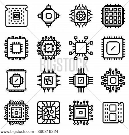 Processor Icons Set. Outline Set Of Processor Vector Icons For Web Design Isolated On White Backgrou