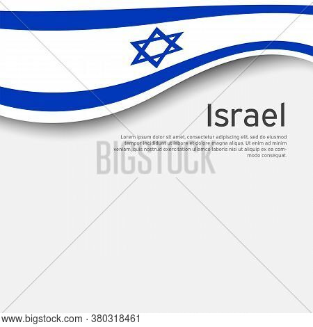 Israel Wavy Flag On A White Background, Poster. State Israeli Patriotic Flyer, Banner. Business Book