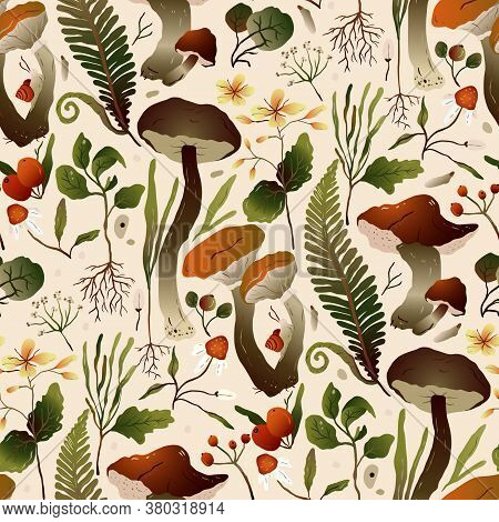 Autumn Forest Mushroom Seamless Vector Pattern. Brown Boletus, Fern, Forest Herbs, And Celandine Flo