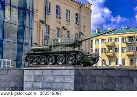 Kharkiv, Ukraine - July 20, 2020: A T-34-85 Tank On Display At M.f. Sumtsov Kharkiv Historical Museu