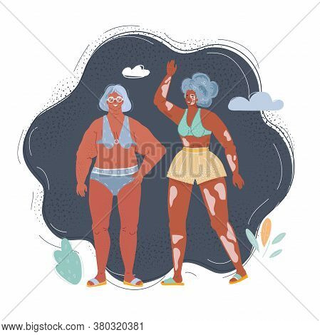 Vector Illustration Of Two Women Of Different Race, Height, Figure Type And Size Dressed In Swimwear