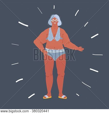 Vector Illustration Of P Smiling Senior Woman In Swimwear On Dark Background.