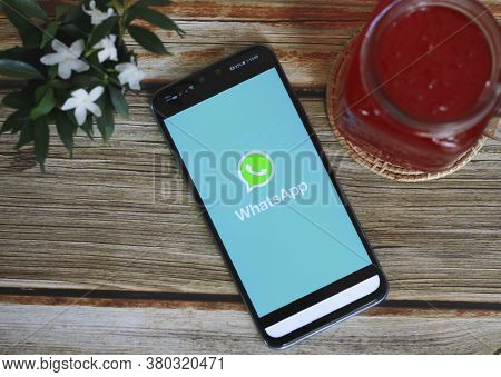 Chiang Mai, Thailand - August 11, 2020 : Whatsapp Logo On Smartphone With Whatsapp App On The Screen