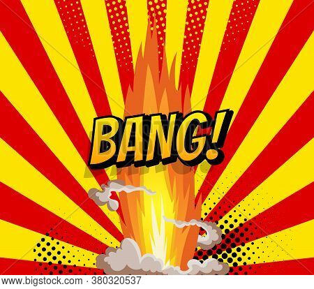 Cartoon Explosion Effect With Smoke. Retro Boom Banner. Comic Book Explosion Bang On Sunbeam Striped