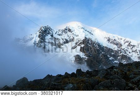 Evening View Of Mount Salkantay, Salcantay Trek In The Way To Machu Picchu, Cuzco Area In Peru