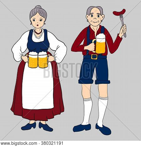 German Bavarian Man And Woman With Glass Of Beer And Sausage. Old Lady And Gentleman In National Dre