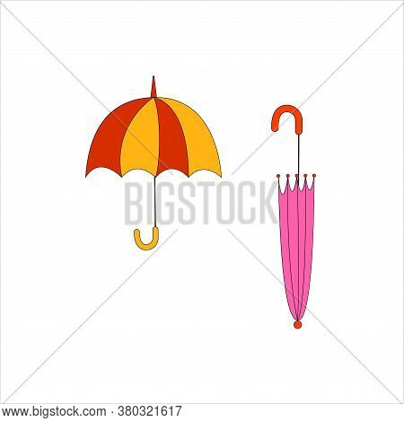 Pink Closed And Red-yellow Open Umbrellas. Beautiful Umbrella, Great Design For Any Purposes. Concep