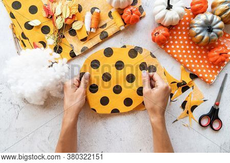 Step By Step Instruction Of Making Halloween Textile Diy Pumpkin Craft. Step 2 - Cutting A Circle Fr
