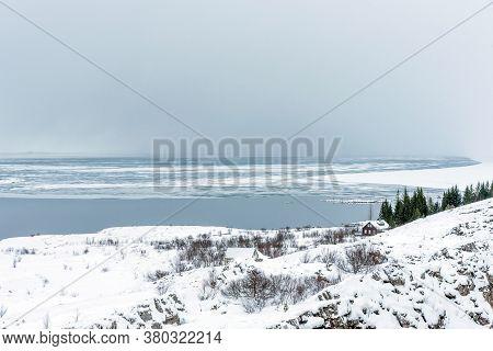 Picturesque Winter Landscape View Of Thingvellir In Iceland. Aereal Winter Landscape View Of Thingve