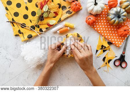 Step By Step Instruction Of Making Halloween Textile Diy Pumpkin Craft. Step 4 - Stuff The Textile W