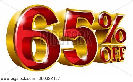 65% Off - Sixty Five Percent Off Discount Gold And Red Sign. Vector Illustration. Special Offer 65 %