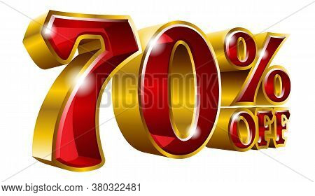 70% Off - Seventy Percent Off Discount Gold And Red Sign. Vector Illustration. Special Offer 70 % Of