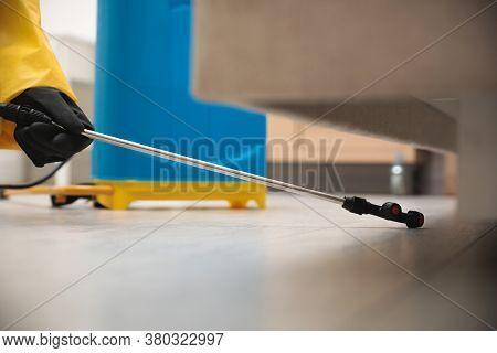 Pest Control Worker Spraying Pesticide Under Furniture Indoors, Closeup