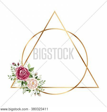 Geometrical Polyhedron With Flowers. Vector Illustration Eps10