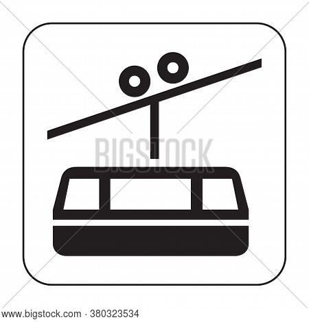 Black Silhouette Of The Cabin Cableway. Design Element Of The Cableway. Stock Vector Illustration