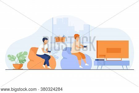 Two Happy Excited Teen Kids Sitting On Sofa At Tv With Gamepads And Playing Videogame. Vector Illust
