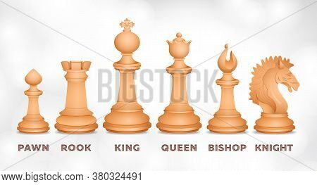 Chessmen, Chess Set, Realistic Drawing. Figurines For Intellectual Game, Piece Pawn, King, Queen, Bi