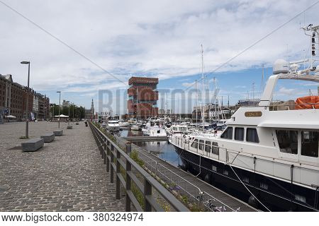 Antwerp, Belgium, July 19, 2020, The Museum On The River Also Called The Mas With The Marina And Boa