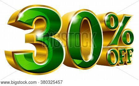 30% Off - Thirty Percent Off Discount Gold And Green Sign. Vector Illustration. Special Offer 30 % O