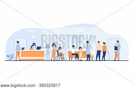 Patients And Doctors Meeting And Waiting In Clinic Hall. Hospital Interior Illustration With Recepti