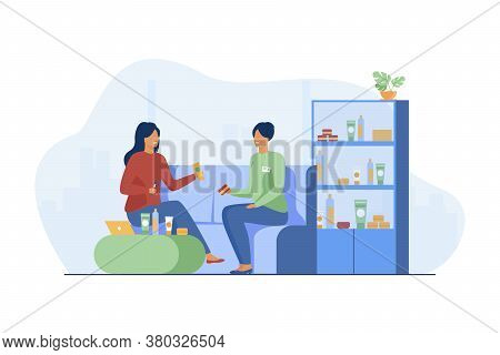 Smiling Girl Choosing Cosmetics And Skincare Cream. Consultant, Client, Conversation Flat Vector Ill