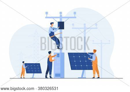 Solar Power Plant Maintenance. Utility Workers Repairing Electric Installations, Boxes On Towers Und