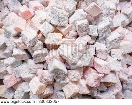 Small Pieces Of Turkish Delight, Rahat Lokum In Powdered Sugar, Traditional Turkish Sweets, Turkey.