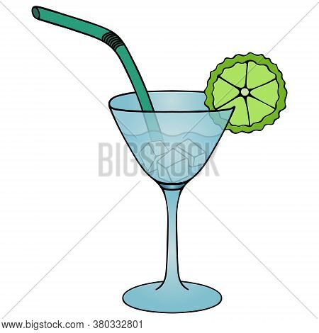 Martini With Ice Cubes And A Slice Of Lime. Refreshing Cocktail. Vector Illustration. Isolated White