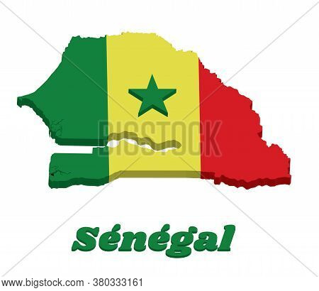3d Map Outline And Flag Of Senegal, A Vertical Tricolor Of Green Yellow And Red; Charged With A Gree