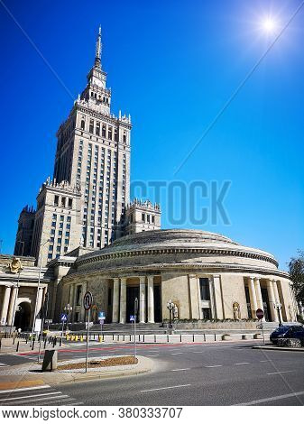 Palace Of Culture And Science - A Building In Warsaw. The Tallest Building In Poland. Stalin's Skysc