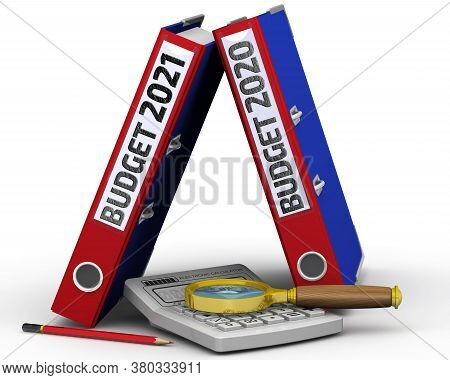 Budget Analysis. Two Binders With The Words Budget 2020 And Budget 2021, An Electronic Calculator, A