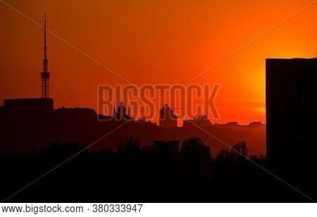 Panorama Of Kiev At Sunset. You Can See The Silhouettes Of St. Andrew's Church And Kiev Tv Tower. Vi