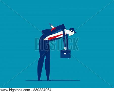 Businessman Stabbed In The Back With Knife. Business Faithfulness Concept. Flat Cartoon Vector Style